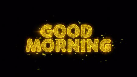 livraria : Good Morning Text Sparks Glitter Particles on Black Background. Sale, Discount Price, Off Deals, Offer promotion offer percent discount ads 4K Loop Animation.