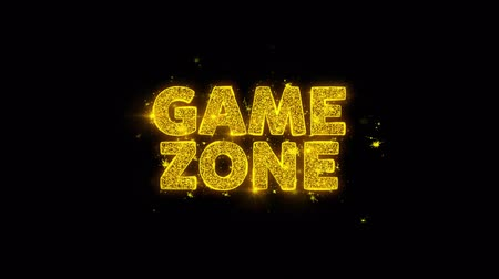 odznaka : Game zone Text Sparks Glitter Particles on Black Background. Sale, Discount Price, Off Deals, Offer promotion offer percent discount ads 4K Loop Animation. Wideo
