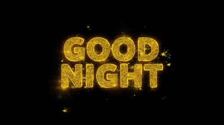 nekvalitní potraviny : Good Night Text Sparks Glitter Particles on Black Background. Sale, Discount Price, Off Deals, Offer promotion offer percent discount ads 4K Loop Animation.