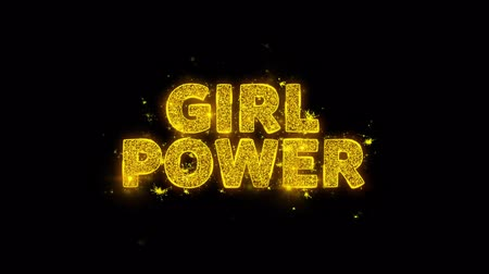 mindennapi : Girl Power Text Sparks Glitter Particles on Black Background. Sale, Discount Price, Off Deals, Offer promotion offer percent discount ads 4K Loop Animation.