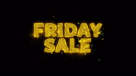 рекламный : Friday Sale Text Sparks Glitter Particles on Black Background. Sale, Discount Price, Off Deals, Offer promotion offer percent discount ads 4K Loop Animation.