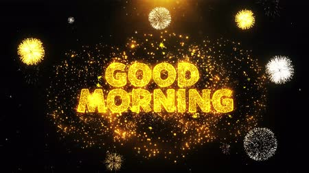 product promo : Good Morning Text on Firework Display Explosion Particles. Sale, Discount Price, Off Deals, Offer promotion offer percent discount ads 4K Loop Animation.