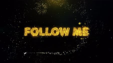 otuzlu yıllar : Follow Me Text on Gold Glitter Particles Spark Exploding Fireworks Display. Sale, Discount Price, Off Deals, Offer Promotion Offer Percent Discount ads 4K Loop Animation. Stok Video