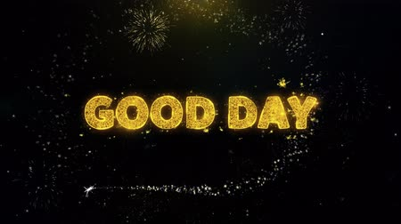 huge sale : Good Day Text on Gold Glitter Particles Spark Exploding Fireworks Display. Sale, Discount Price, Off Deals, Offer Promotion Offer Percent Discount ads 4K Loop Animation.