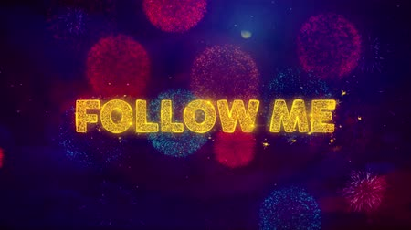 cupom : Follow Me Text on Colorful Firework Explosion Particles. Sale, Discount Price, Off Deals, Offer promotion offer percent discount ads 4K Loop Animation. Vídeos