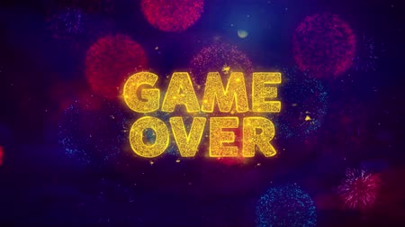 woorden : Game Over Text on Colorful Firework Explosion Particles. Sale, Discount Price, Off Deals, Offer promotion offer percent discount ads 4K Loop Animation.