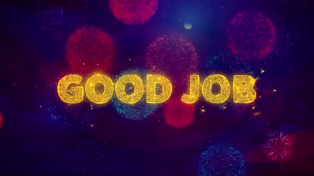 supervisor : Good Job Text on Colorful Firework Explosion Particles. Sale, Discount Price, Off Deals, Offer promotion offer percent discount ads 4K Loop Animation. Stock Footage