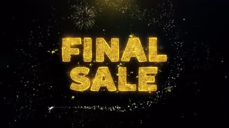 végső : Final Sale Text on Gold Glitter Particles Spark Exploding Fireworks Display. Sale, Discount Price, Off Deals, Offer Promotion Offer Percent Discount ads 4K Loop Animation.