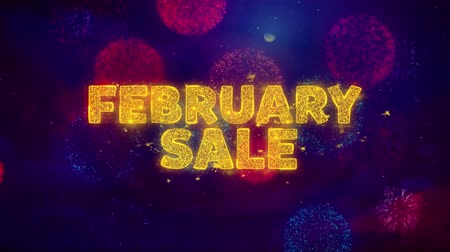 慶典 : February Sale Text on Colorful Firework Explosion Particles. Sale, Discount Price, Off Deals, Offer promotion offer percent discount ads 4K Loop Animation.
