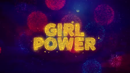 рекламный : Girl Power Text on Colorful Firework Explosion Particles. Sale, Discount Price, Off Deals, Offer promotion offer percent discount ads 4K Loop Animation.