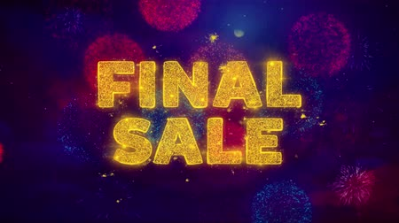 product promo : Final Sale Text on Colorful Firework Explosion Particles. Sale, Discount Price, Off Deals, Offer promotion offer percent discount ads 4K Loop Animation.