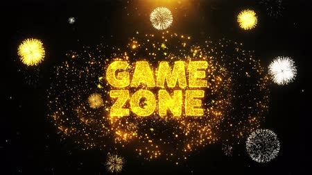 慶典 : Game zone Text on Firework Display Explosion Particles. Sale, Discount Price, Off Deals, Offer promotion offer percent discount ads 4K Loop Animation. 影像素材