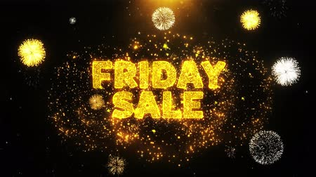 értékesítés : Friday Sale Text on Firework Display Explosion Particles. Sale, Discount Price, Off Deals, Offer promotion offer percent discount ads 4K Loop Animation.
