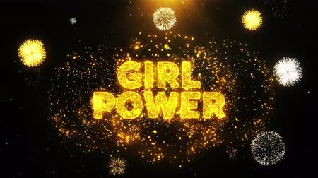 értékesítés : Girl Power Text on Firework Display Explosion Particles. Sale, Discount Price, Off Deals, Offer promotion offer percent discount ads 4K Loop Animation.