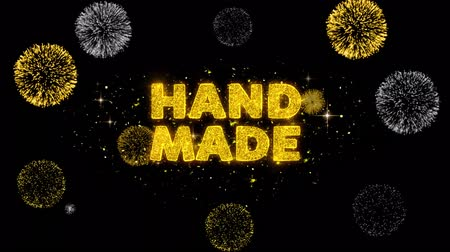гарантия : Hand Made Text Reveal on Glitter Golden Particles Firework. Sale, Discount Price, Off Deals, Offer promotion offer percent discount ads 4K Loop Animation. Стоковые видеозаписи