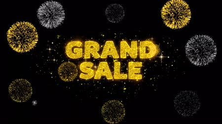 értékesítés : Grand Sale Text Reveal on Glitter Golden Particles Firework. Sale, Discount Price, Off Deals, Offer promotion offer percent discount ads 4K Loop Animation.