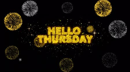 čtvrtek : Hello Thursday Text Reveal on Glitter Golden Particles Firework. Sale, Discount Price, Off Deals, Offer promotion offer percent discount ads 4K Loop Animation.