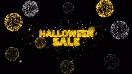 fruit bat : Halloween Sale Text Reveal on Glitter Golden Particles Firework. Sale, Discount Price, Off Deals, Offer promotion offer percent discount ads 4K Loop Animation. Stock Footage