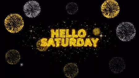 sobota : Hello Saturday Text Reveal on Glitter Golden Particles Firework. Sale, Discount Price, Off Deals, Offer promotion offer percent discount ads 4K Loop Animation.
