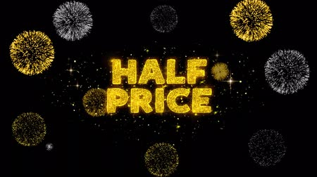 barganha : Half Price Text Reveal on Glitter Golden Particles Firework. Sale, Discount Price, Off Deals, Offer promotion offer percent discount ads 4K Loop Animation.