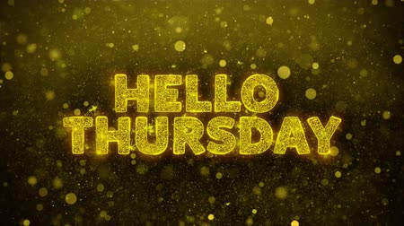quinta feira : Hello Thursday Text Golden Glitter Glowing Lights Shine Particles. Sale, Discount Price, Off Deals, Offer promotion offer percent discount ads 4K Loop Animation.