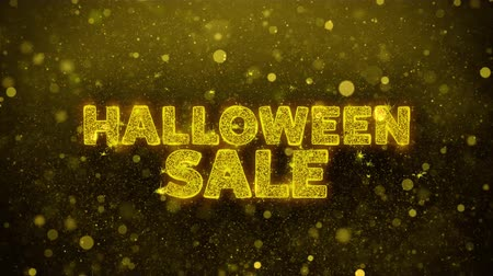 eng : Halloween Sale-tekst Golden Glitter gloeiende lichten schijnen deeltjes. Verkoop, kortingsprijs, off-deals, aanbieding promotie aanbieding procent korting advertenties 4K Loop Animation. Stockvideo