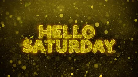 sobota : Hello Saturday Text Golden Glitter Glowing Lights Shine Particles. Sale, Discount Price, Off Deals, Offer promotion offer percent discount ads 4K Loop Animation.