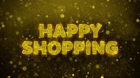 慶典 : Happy Shopping Text Golden Glitter Glowing Lights Shine Particles. Sale, Discount Price, Off Deals, Offer promotion offer percent discount ads 4K Loop Animation. 影像素材