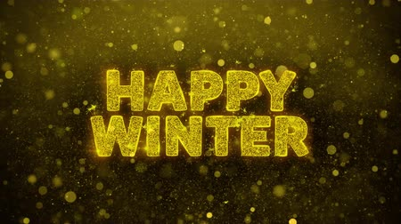 慶典 : Happy Winter Text Golden Glitter Glowing Lights Shine Particles. Sale, Discount Price, Off Deals, Offer promotion offer percent discount ads 4K Loop Animation. 影像素材