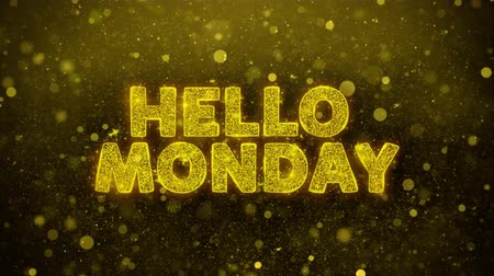 por ciento : Hello Monday Text Golden Glitter Glowing Lights Shine Particles. Sale, Discount Price, Off Deals, Offer promotion offer percent discount ads 4K Loop Animation. Archivo de Video