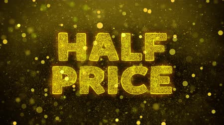 cupom : Half Price Text Golden Glitter Glowing Lights Shine Particles. Sale, Discount Price, Off Deals, Offer promotion offer percent discount ads 4K Loop Animation. Vídeos