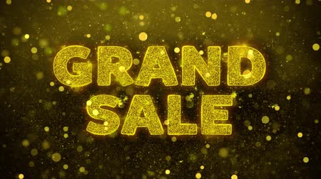 cupom : Grand Sale Text Golden Glitter Glowing Lights Shine Particles. Sale, Discount Price, Off Deals, Offer promotion offer percent discount ads 4K Loop Animation.