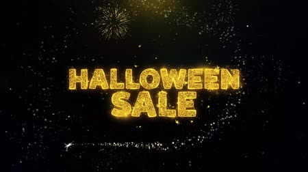 bat : Halloween Sale Text on Gold Glitter Particles Spark Exploding Fireworks Display. Sale, Discount Price, Off Deals, Offer Promotion Offer Percent Discount ads 4K Loop Animation.