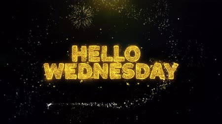 čtvrtek : Hello Wednesday Text on Gold Glitter Particles Spark Exploding Fireworks Display. Sale, Discount Price, Off Deals, Offer Promotion Offer Percent Discount ads 4K Loop Animation.