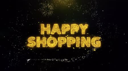 fifty : Happy Shopping Text on Gold Glitter Particles Spark Exploding Fireworks Display. Sale, Discount Price, Off Deals, Offer Promotion Offer Percent Discount ads 4K Loop Animation. Stock Footage