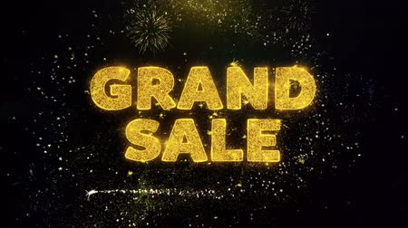 кампания : Grand Sale Text on Gold Glitter Particles Spark Exploding Fireworks Display. Sale, Discount Price, Off Deals, Offer Promotion Offer Percent Discount ads 4K Loop Animation.