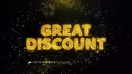 végső : Great Discount Text on Gold Glitter Particles Spark Exploding Fireworks Display. Sale, Discount Price, Off Deals, Offer Promotion Offer Percent Discount ads 4K Loop Animation. Stock mozgókép