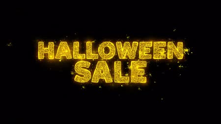 объявлять : Halloween Sale Text Sparks Glitter Particles on Black Background. Sale, Discount Price, Off Deals, Offer promotion offer percent discount ads 4K Loop Animation.