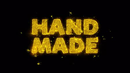 damga : Hand Made Text Sparks Glitter Particles on Black Background. Sale, Discount Price, Off Deals, Offer promotion offer percent discount ads 4K Loop Animation. Stok Video