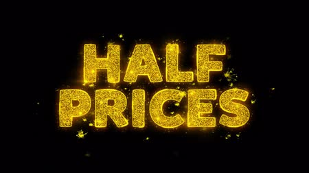huge sale : Text Sparks Glitter Particles on Black Background. Sale, Discount Price, Off Deals, Offer promotion offer percent discount ads 4K Loop Animation.