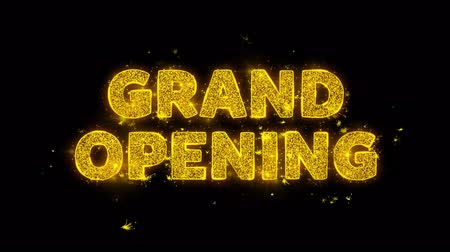 soon : Grand Opening Text Sparks Glitter Particles on Black Background. Sale, Discount Price, Off Deals, Offer promotion offer percent discount ads 4K Loop Animation. Stock Footage