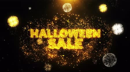 por cento : Halloween Sale Text on Firework Display Explosion Particles. Sale, Discount Price, Off Deals, Offer promotion offer percent discount ads 4K Loop Animation.