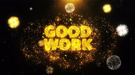 por cento : Good Work Text on Firework Display Explosion Particles. Sale, Discount Price, Off Deals, Offer promotion offer percent discount ads 4K Loop Animation. Stock Footage