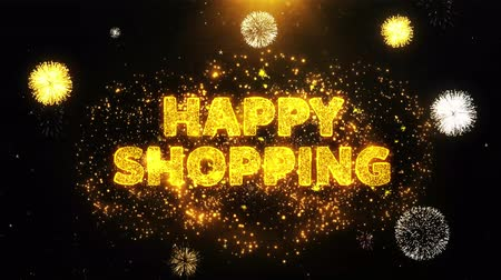 慶典 : Happy Shopping Text on Firework Display Explosion Particles. Sale, Discount Price, Off Deals, Offer promotion offer percent discount ads 4K Loop Animation.