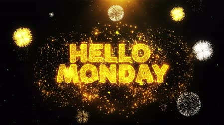 roliço : Hello Monday Text on Firework Display Explosion Particles. Sale, Discount Price, Off Deals, Offer promotion offer percent discount ads 4K Loop Animation.