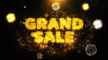jelenleg : Grand Sale Text on Firework Display Explosion Particles. Sale, Discount Price, Off Deals, Offer promotion offer percent discount ads 4K Loop Animation.