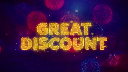sınırları : Great Discount Text on Colorful Firework Explosion Particles. Sale, Discount Price, Off Deals, Offer promotion offer percent discount ads 4K Loop Animation.