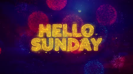 vasárnap : Hello Sunday Text on Colorful Firework Explosion Particles. Sale, Discount Price, Off Deals, Offer promotion offer percent discount ads 4K Loop Animation. Stock mozgókép