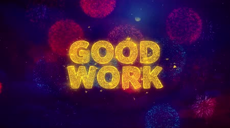 gut gemacht : Good Work Text on Colorful Firework Explosion Particles. Sale, Discount Price, Off Deals, Offer promotion offer percent discount ads 4K Loop Animation. Videos