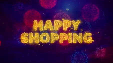 慶典 : Happy Shopping Text on Colorful Firework Explosion Particles. Sale, Discount Price, Off Deals, Offer promotion offer percent discount ads 4K Loop Animation.